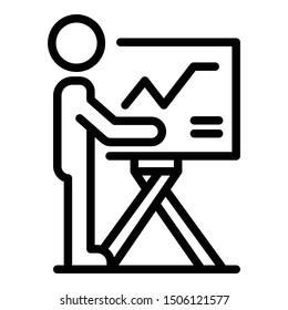 Investor presentation icon. Outline investor presentation vector icon for web design isolated on white background