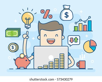 Investor. Smart Investment. Flat Line Illustration. Business Concept Illustration.
