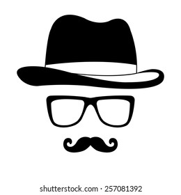 Invisible man with hat glasses and mustaches vector icon - black illustration