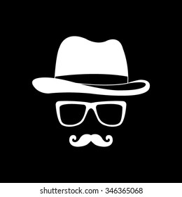 invisible man with hat glasses and mustaches vector icon isolated on black