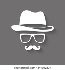 invisible man with hat glasses and mustaches vector icon with shadow