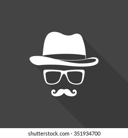 invisible man with hat glasses and mustaches vector icon with long shadow