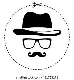 invisible man with hat glasses and mustaches vector icon