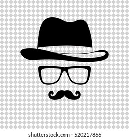 Invisible man with hat glasses and mustaches - black  vector icon