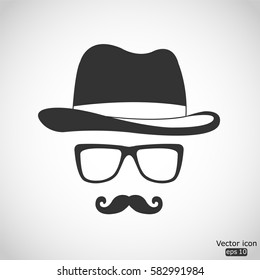 Invisible man with hat glasses and mustaches icon - vector  illustration