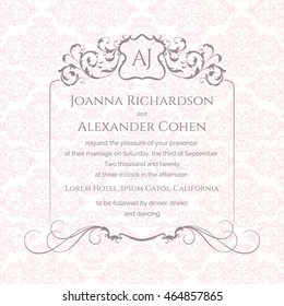 Invitation and announcement card with damask background. Monogram frame