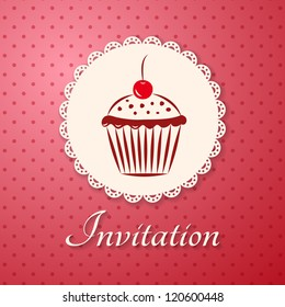 Invitation applique card / background. Label with cupcake on pink background with polka dots.