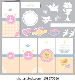 Invitation baby card. Baptism invitation. Christening card. First communion.