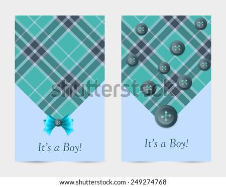 Invitation Baby Card Blue Bow Tartan Stock Vector Royalty Free