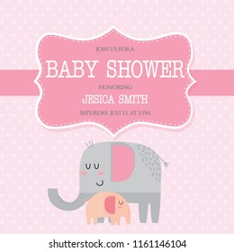 Invitation Baby Shower with cute elephant, mom and baby elephant with pink color, great for baby shower element vector illustration
