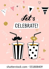 Invitation background on party time with 'Let's celebrate!' title