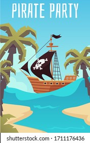 Invitation banner for pirate party, childrens birthday or quest with treasure hunting, flat cartoon vector illustration. Background with sailboat and tropical island.