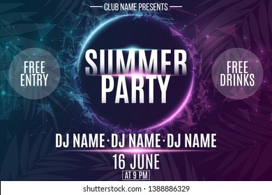 Invitation banner for Summer Party. Abstract neon round banner with flying luminous geometric particles. Palm tree. Dance night party. Plexus style. The names club and DJ. Vector illustration. EPS 10.