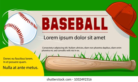 Invitation to the baseball game. Flyer or banner template. Vector.