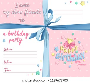 Invitation for a birthday for the girl. Postcard template. Elegant blue bow, frames and lines for text, polka dots on a pink background, a lush bow, a princess crown and a congratulatory lettering.
