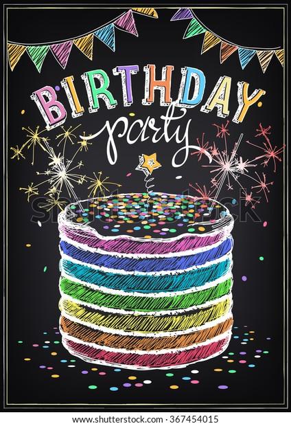 Pleasant Invitation Birthday Party Big Cake Sparklers Stock Vector Royalty Funny Birthday Cards Online Elaedamsfinfo