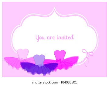 invitation birthday party card with colorful leotards with ribbons and colorful tulle tutus on pink background