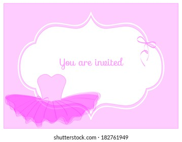 invitation birthday party card with pink leotard with ribbon and pink tulle tutu
