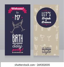 Birthday party invitation images stock photos vectors shutterstock invitation for birthday party retro design vector illustration filmwisefo