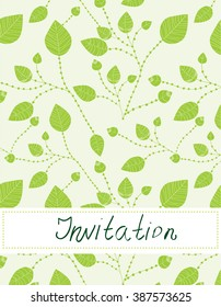 Invitation blank with leaves pattern - vector illustration