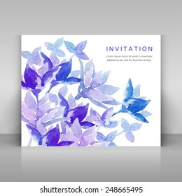 Invitation with blue watercolor flowers. Vector template.