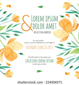Invitation bridal shower card with orange flower vector template - for invitations, flyers, postcards, cards and so on