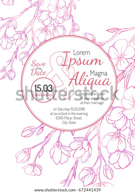 Invitation bridal shower card with sakura vector template - for invitations, flyers, postcards, cards