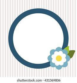 Invitation Card With Abstract Blue Flower And Stripes