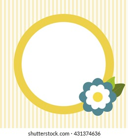 Invitation Card With Abstract Blue Flower And Yellow Stripes