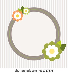 Invitation Card With Abstract Flowers And Stripes