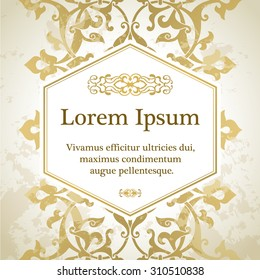 Invitation card with arabesque decor - ottoman floral pattern in gold color