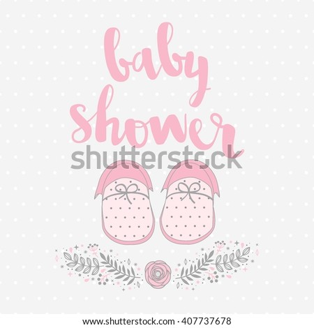 Invitation Card Baby Shower Baby Booties Stock Vector Royalty Free