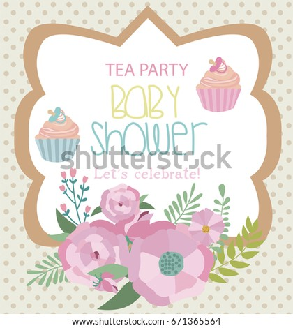 Invitation Card Baby Shower Tea Party Stock Vector Royalty Free
