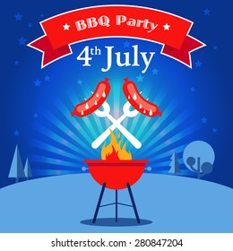 Invitation card to the barbecue party. Grilled sausages on the forks on the background of the natural night landscape. Illustration in a flat style. Fully editable vector.