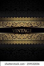 Invitation card Baroque Golden and black, Vintage