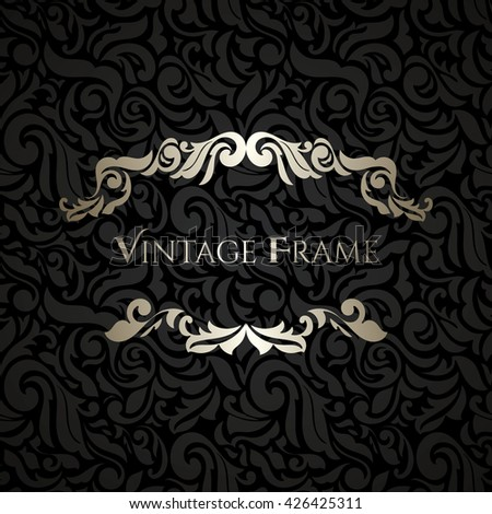 Black vintage frame design Stencil Invitation Card Baroque Golden And Black Vintage Frame Border Design Elements Shutterstock Invitation Card Baroque Golden Black Vintage Stock Vector royalty