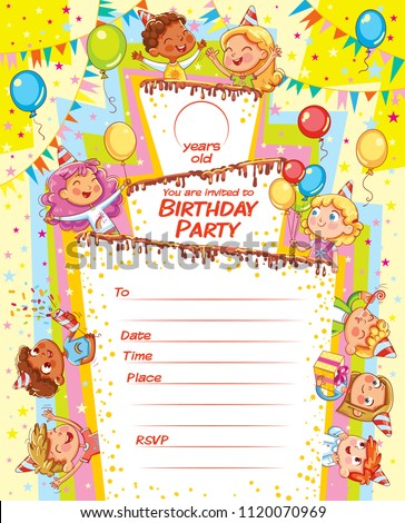 Invitation Card Birthday Party Template Filing Stock Vector Royalty