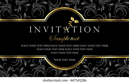 Invitation card - black and gold style