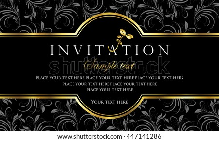 Invitation Card Black Gold Style Vector De Stock Libre De Regalias