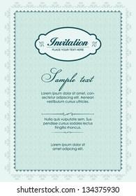 Invitation card, blue vintage design
