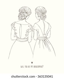 Invitation card for bridesmaid. Hand-drawing vector Illustration