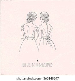 Invitation card for bridesmaid. Hand-drawing vector Illustration.