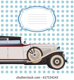Invitation card with cadillac, card with pink doted background for design, blue invitation, wedding card with retro car for signature, cover for notebook or sketchbook