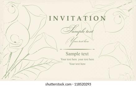 Invitation card with calla lilies