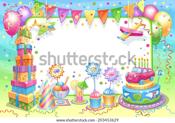 Invitation Card Childrens Birthday Vector Illustration Stock