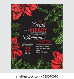 invitation card for a christmas party design template with xmas hand drawn graphic illustrations