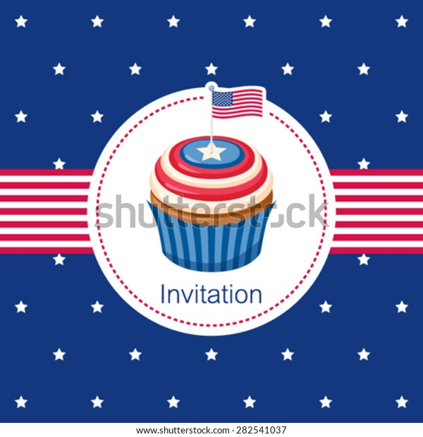 Invitation Card Cupcake Independence Day 4th Stock Vector