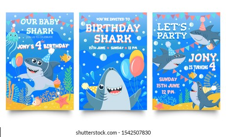 Invitation card with cute sharks. Baby shark birthday party, sharks family celebrate children birthday and invitations template. Sea party greeting card cartoon isolated vector illustration set