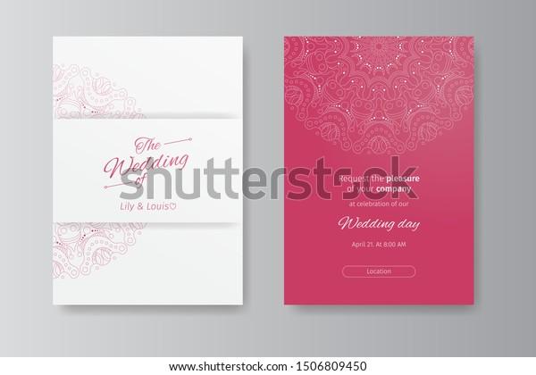 Invitation Card Decorative Wedding Invitation Mandala Stock