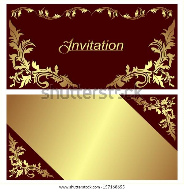 Invitation Card Design Golden Borders Stock Vector Royalty
